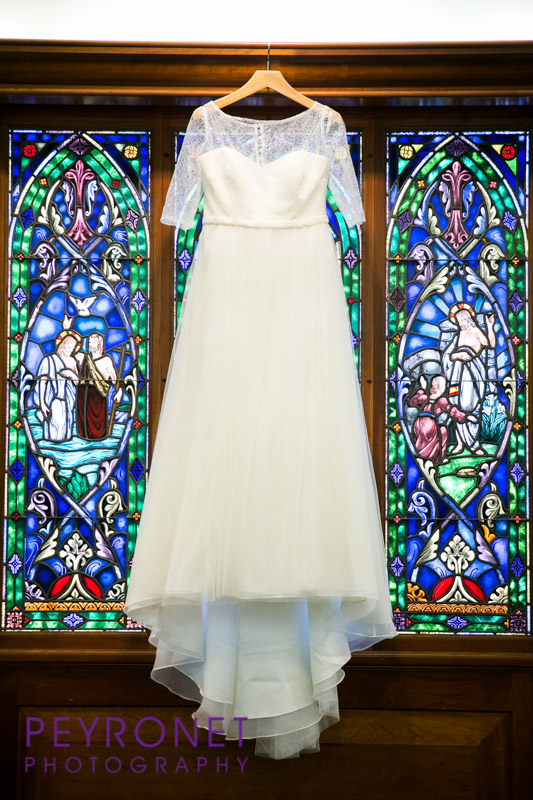 traditional bridal gown stained glass window fort worth church